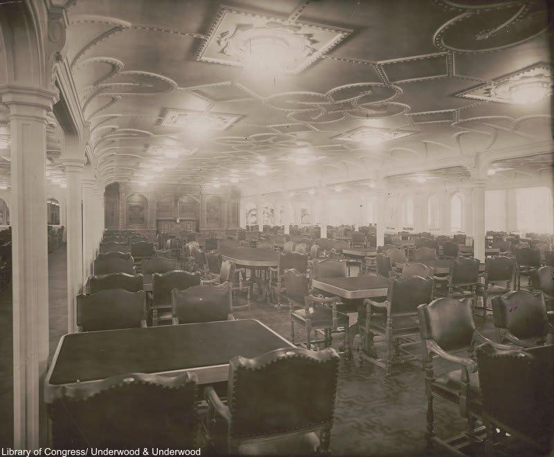 The vast first-class dining room of the Titanic.