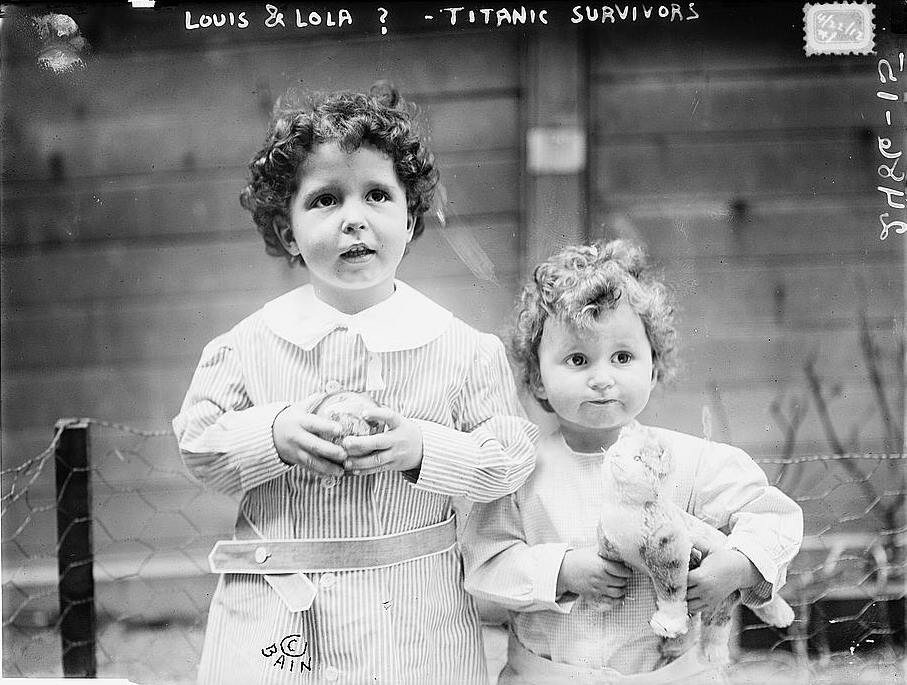 Michel (age 4) and Edmond Navratil (age 2). Two brothers who survived the Titanic sinking. To board the ship, their father, assumed the name Louis Hoffman and used their nicknames, Lolo and Mamon. The father died in the sinking.