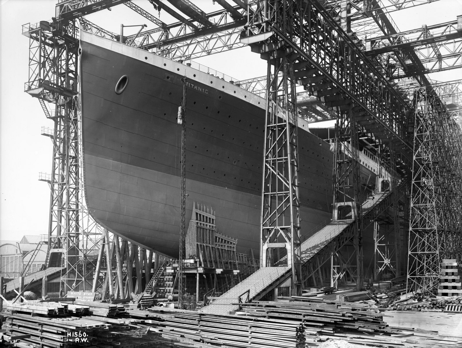 The RMS Titanic preparing for launch.