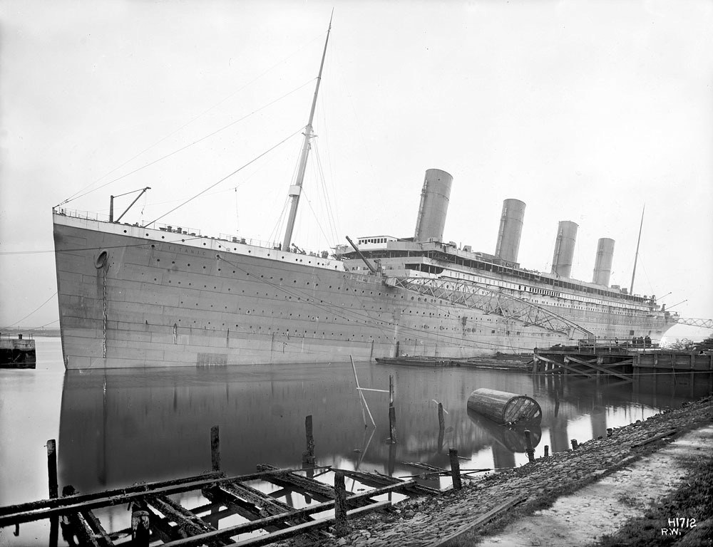 RMS Titanic prior to painting and prior to the A-deck promenades enclosure.