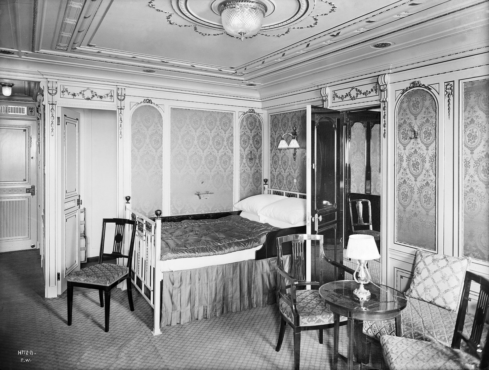 Stateroom B-58, decorated in Louis XVI style.