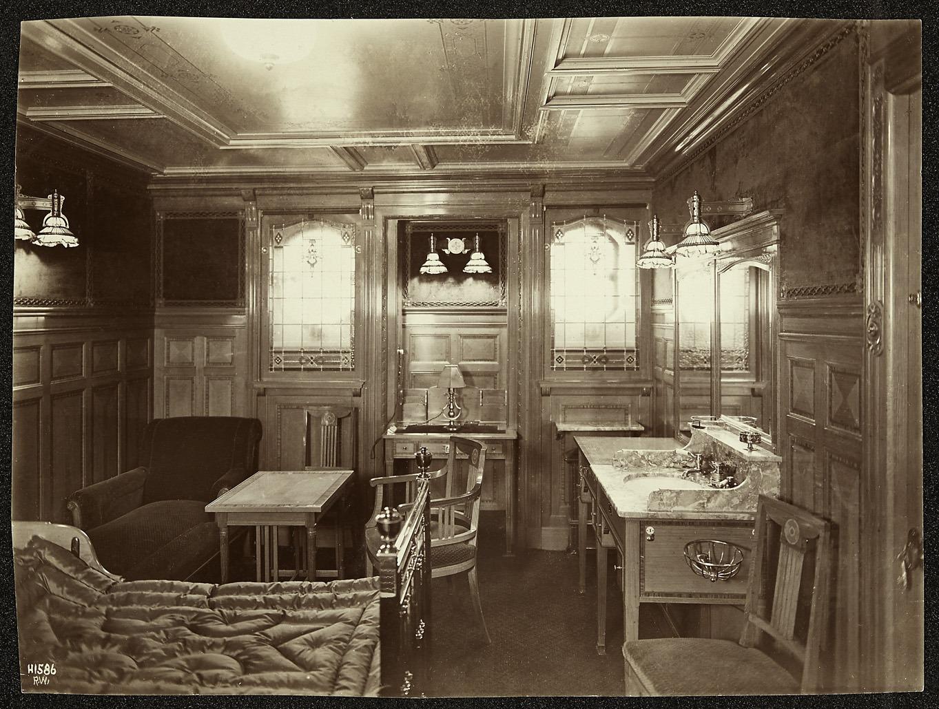 The interior of a cabin.