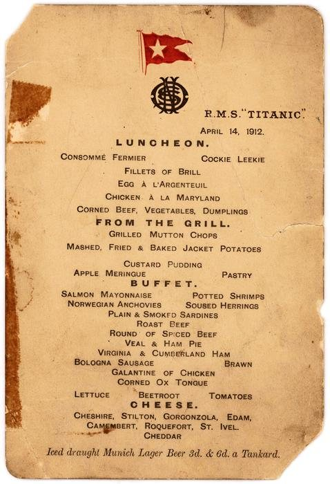 A menu showing the last lunch served on board. The menu is dated 14 April 1912. The ship sank later that evening.