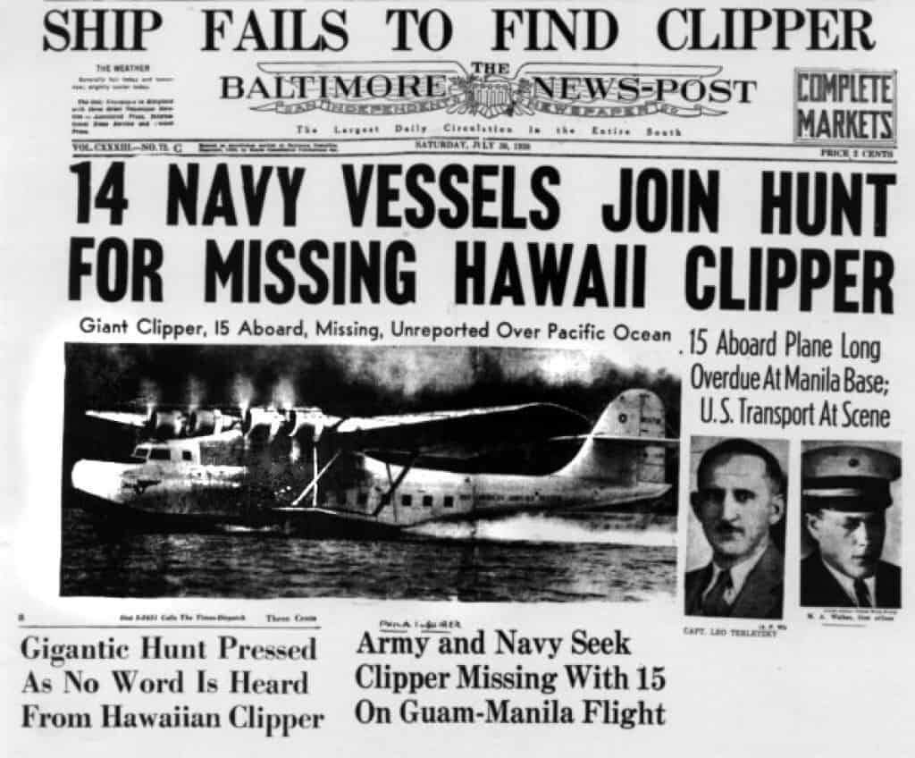 Baltimore News Post on the missing Hawaii Clipper