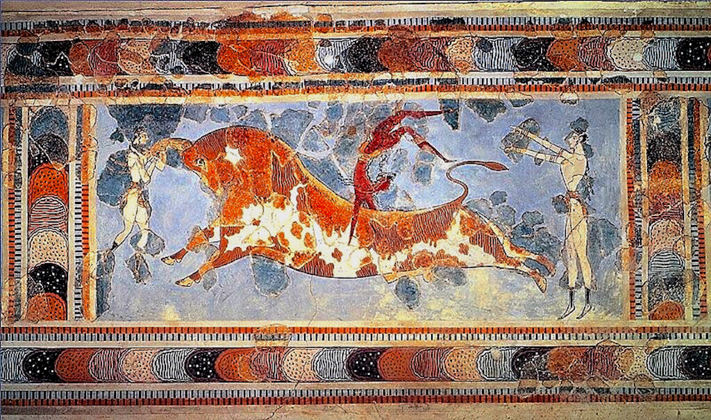 A fresco showing the sport of bull leaping int he Minoan site of Knossos.
