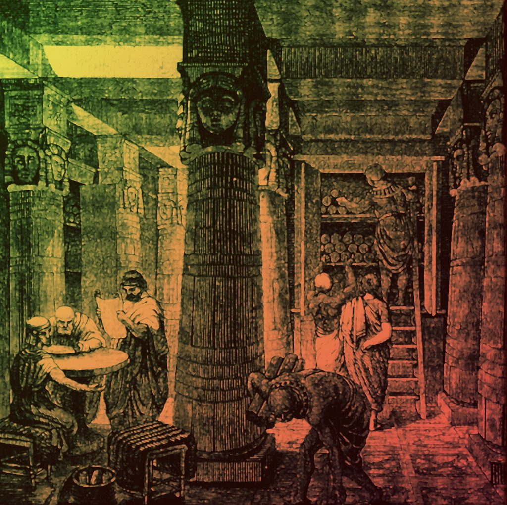Artist O. Von Corven interpretation of the Library of Alexandria based on archaeological evidence (colorized).