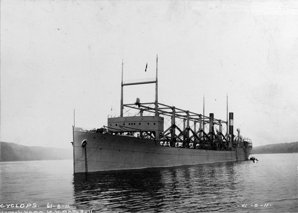USS Cyclops anchored in the Hudson River. Image: U.S. Naval History and Heritage Command Photograph.