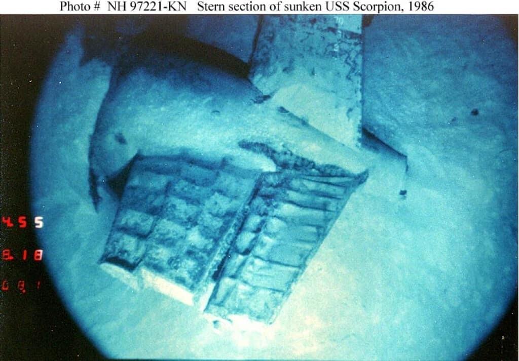 Navy photograph of USS Scorpion's stern wreckage.
