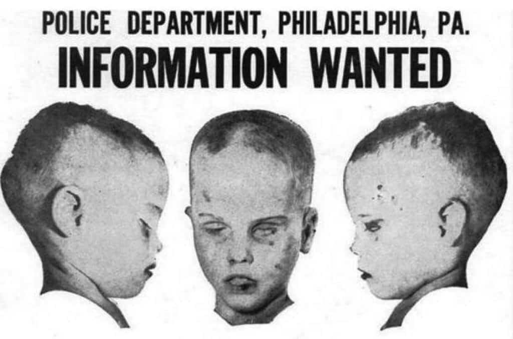 A Philadelphia police department pamphlet requesting information on the unsolved murder of the Boy in the Box.
