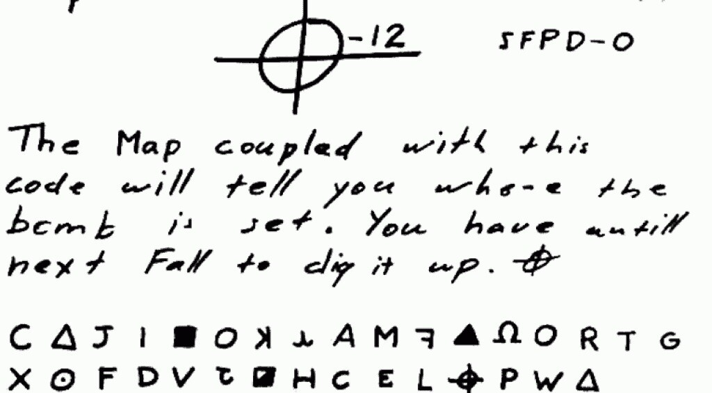 A cryptic letter written by the Zodiac Killer.