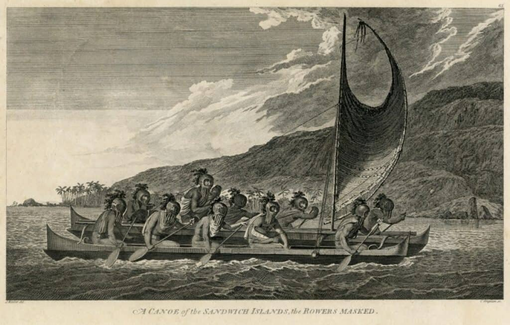 Drawing in 1781 of Hawaiians in double-hulled canoe by artist, John Webber aboard Capt. Cook's ship. This canoe may be similar to what the Easter Islanders may have traveled in.