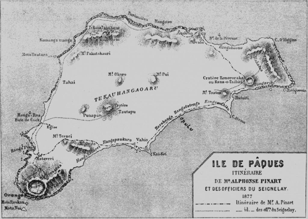 easter island history. Vintage map.