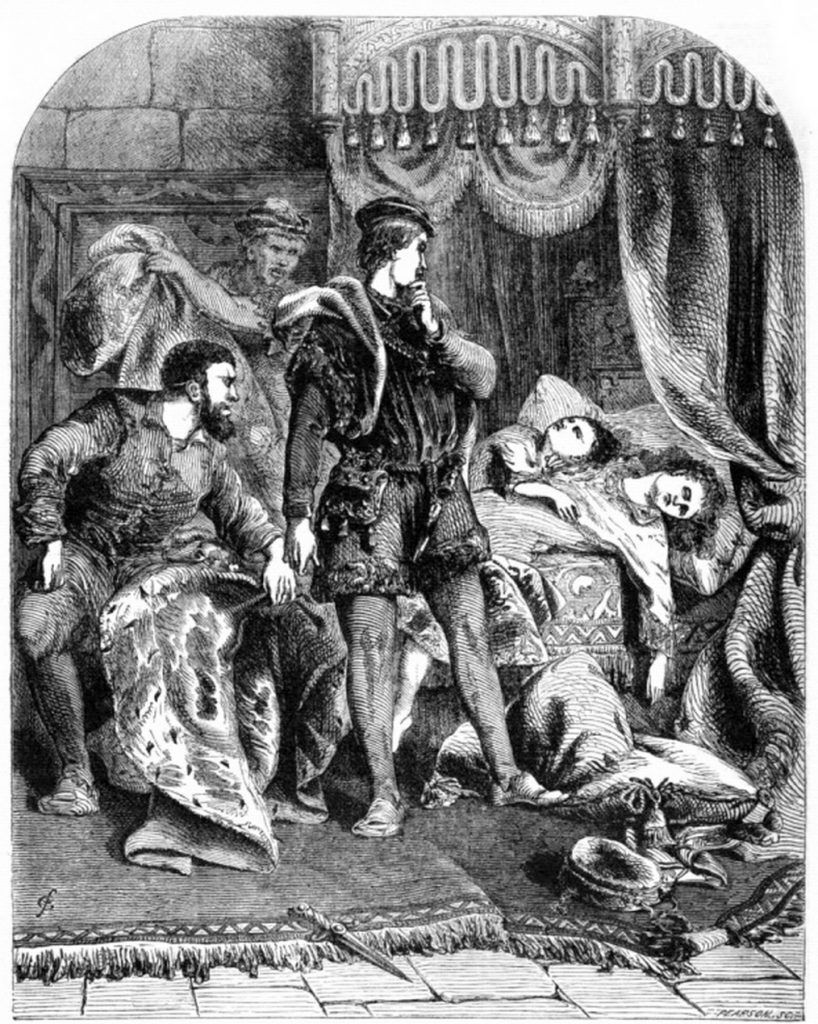 A depiction of the murder of the Princes in the Tower of London (1865).