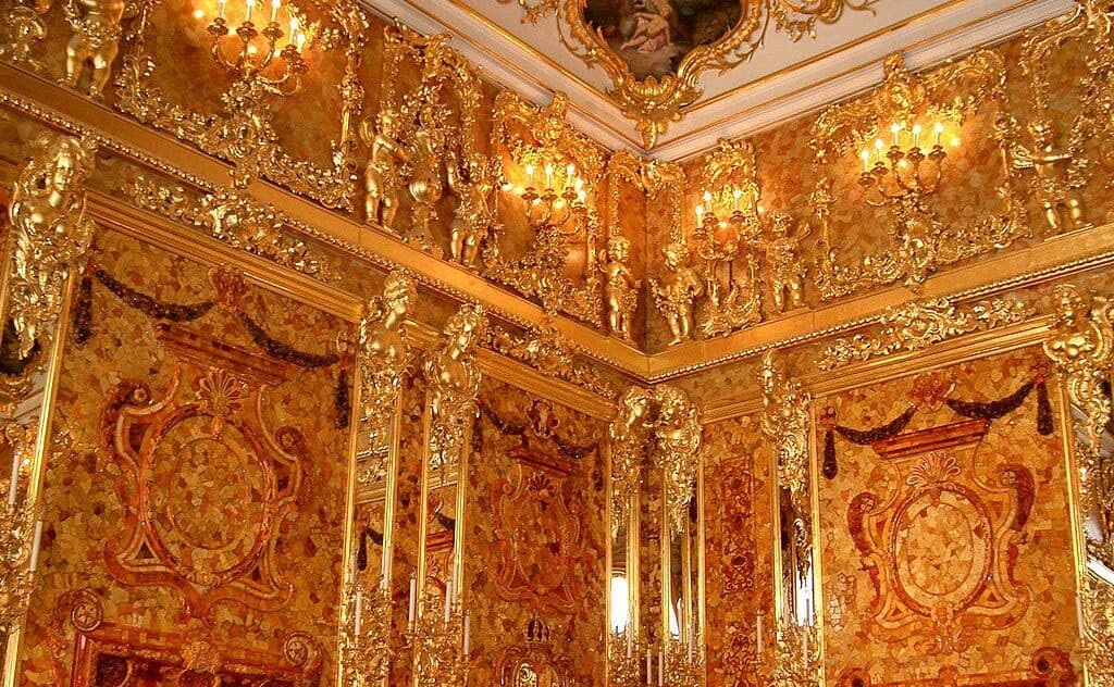The Amber Room reconstruction in Russia.