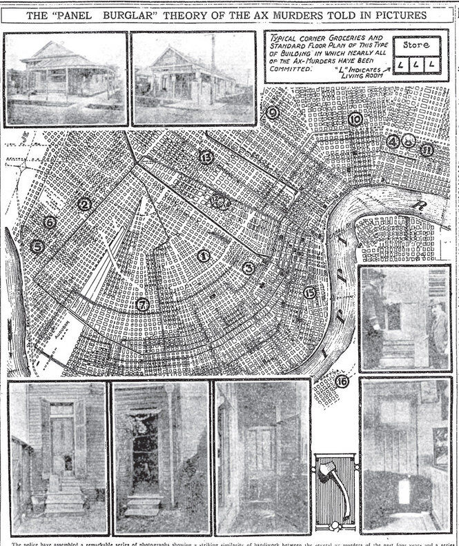 A map showing the location of the Axeman of New Orlean's murders.
