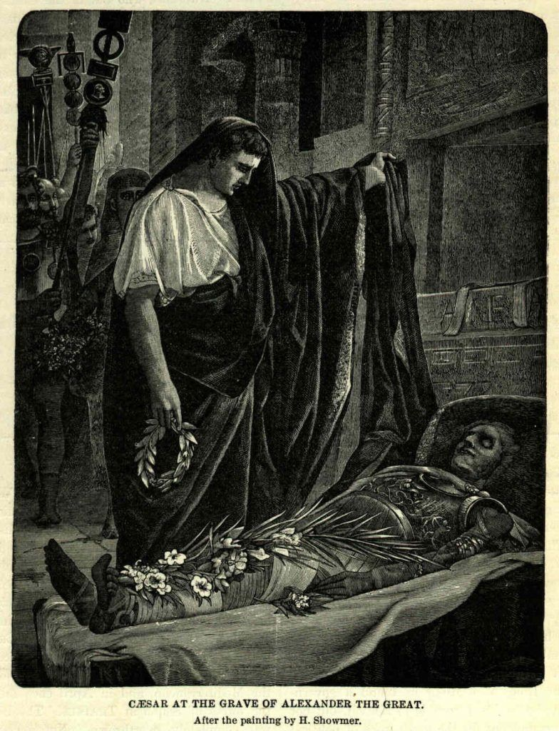 julius caesar at the tomb of alexander the great