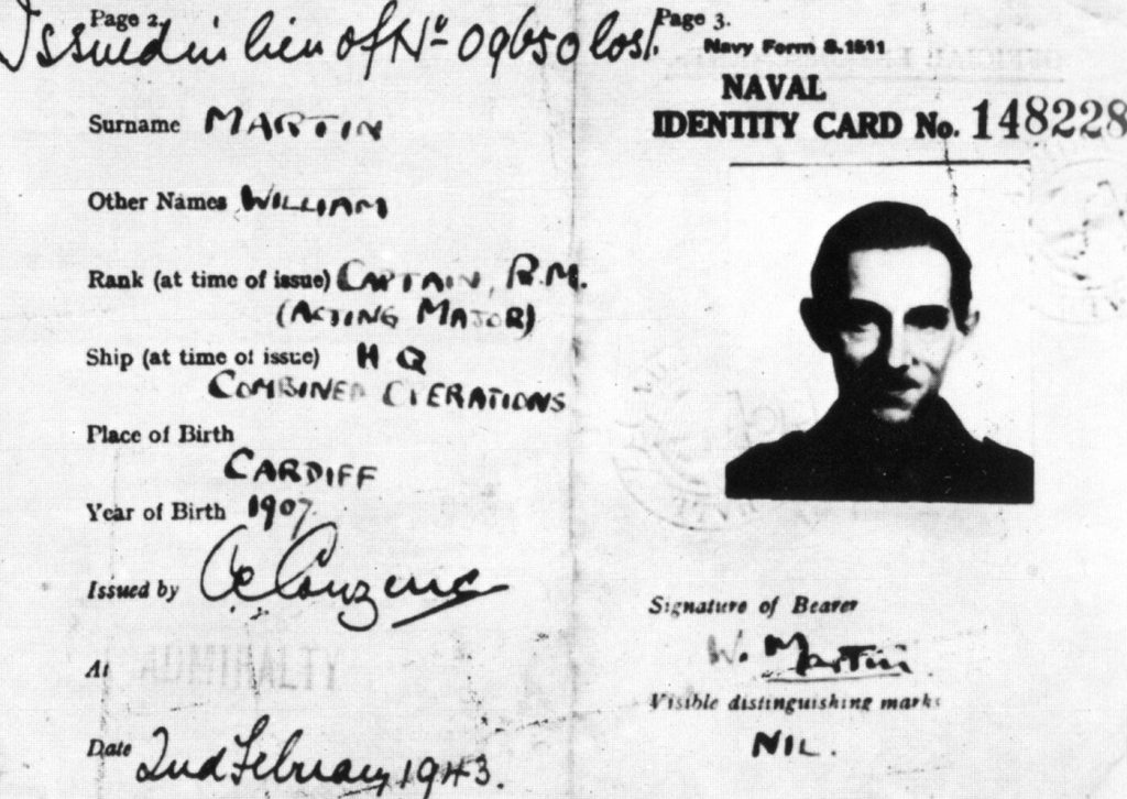 The fictitious ID card of Major Martin in Operation Mincemeat.