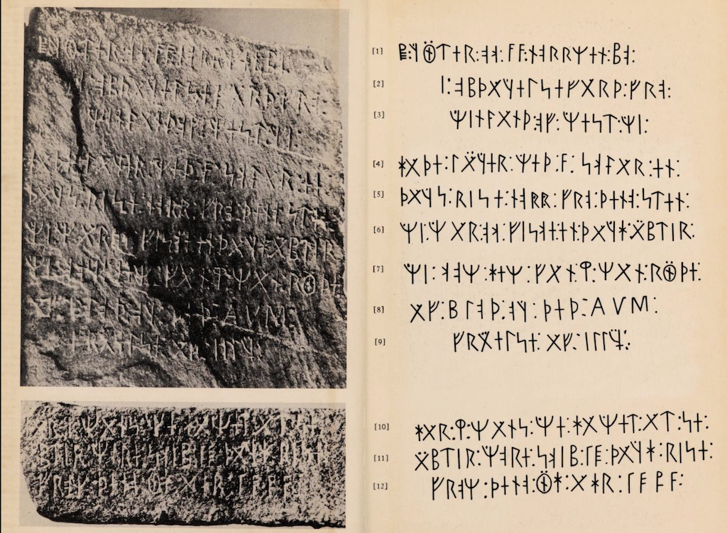 """A clear view of the runes, from EriK Wahlgren's book """"The Kensington Stone, a mystery solved."""""""