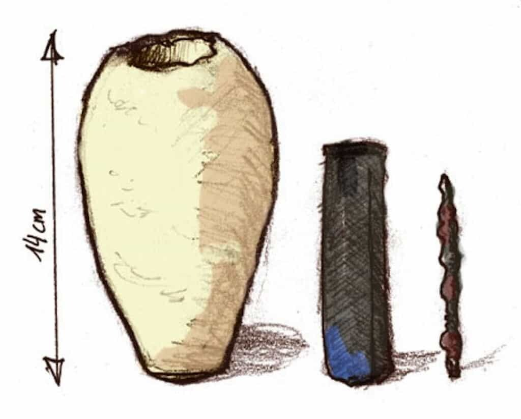 Baghdad Battery: Drawing from different pictures of the museum artef