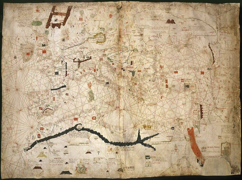 Map of Angelino Dulcert, 1339 shows Hy-Brasil in upper left west of Ireland. Public domain