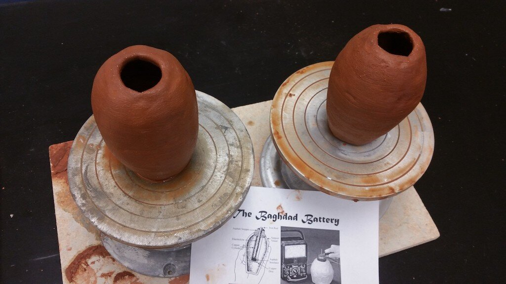 Two Baghdad Batteries on display. Image: Boynton Art Studio.