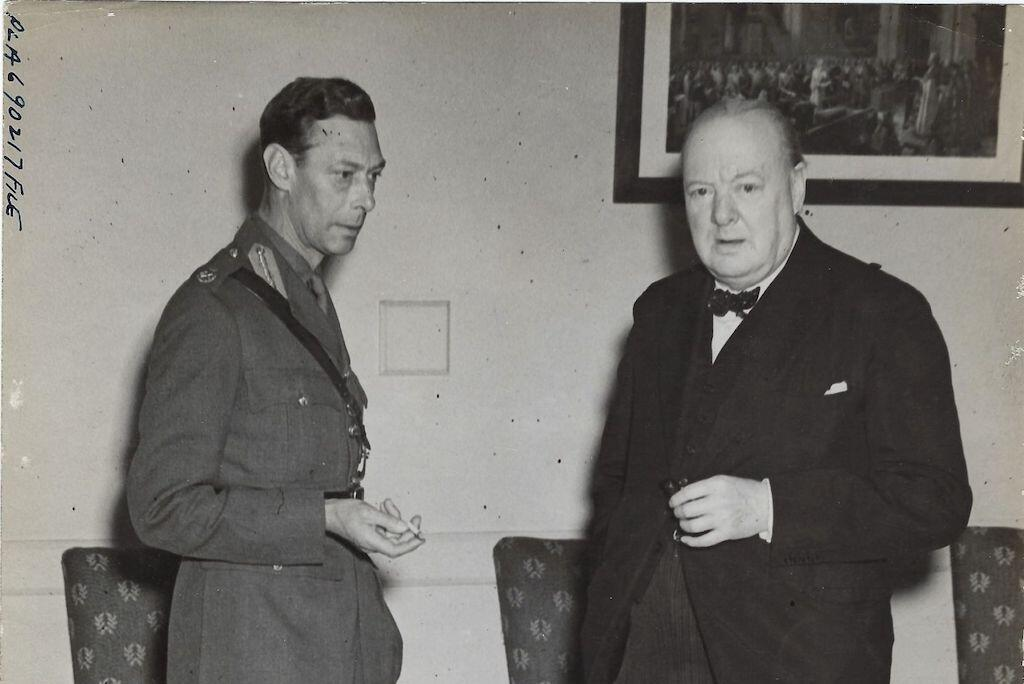 King George VI and Winston Churchill meeting on 25 June 1943.
