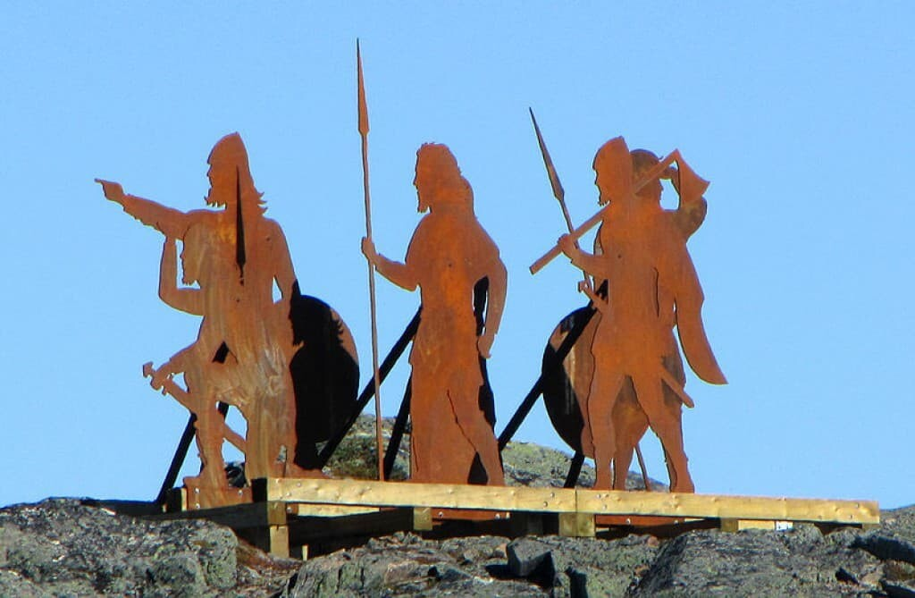 Norse statues installed above L'Anse aux Meadows historical site, Newfoundland and Labrador.