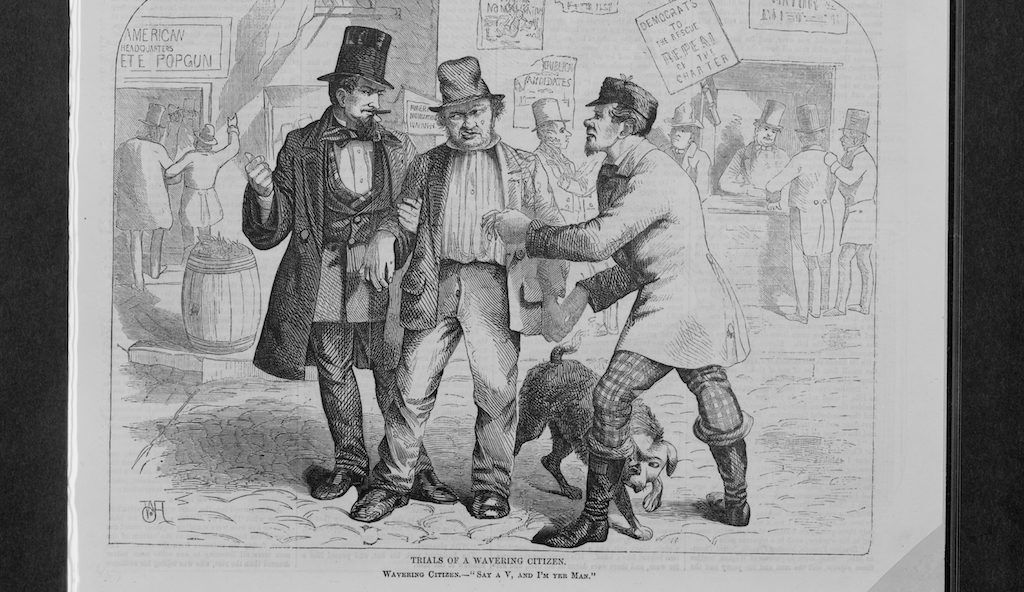 A depiction of corrupt politicians trying to swell the votes through coercion in the 1800s. Library of Congress.
