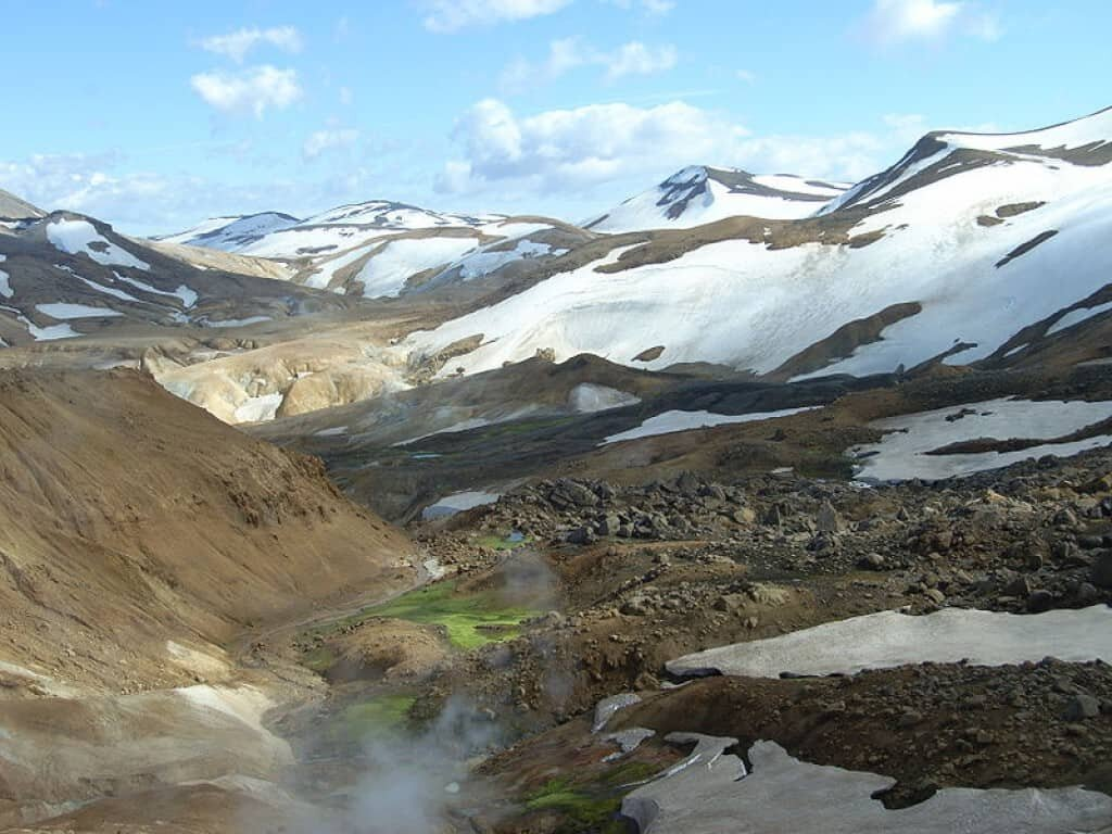 Valley in the Kerlingarfjöll mountain range in Iceland near where the dig occurred.