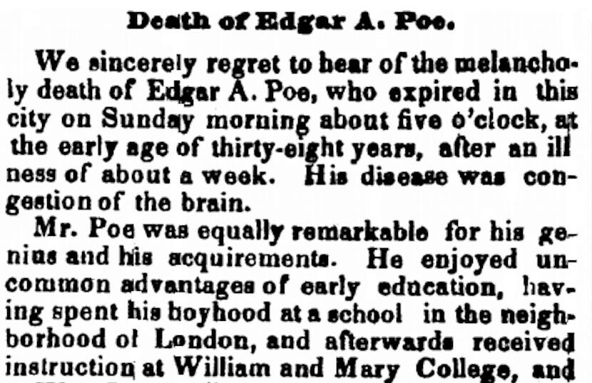 The Augusta Chronical notice of Edgar Allan Poe's death. Augusta, Georgia, October 23, 1849.