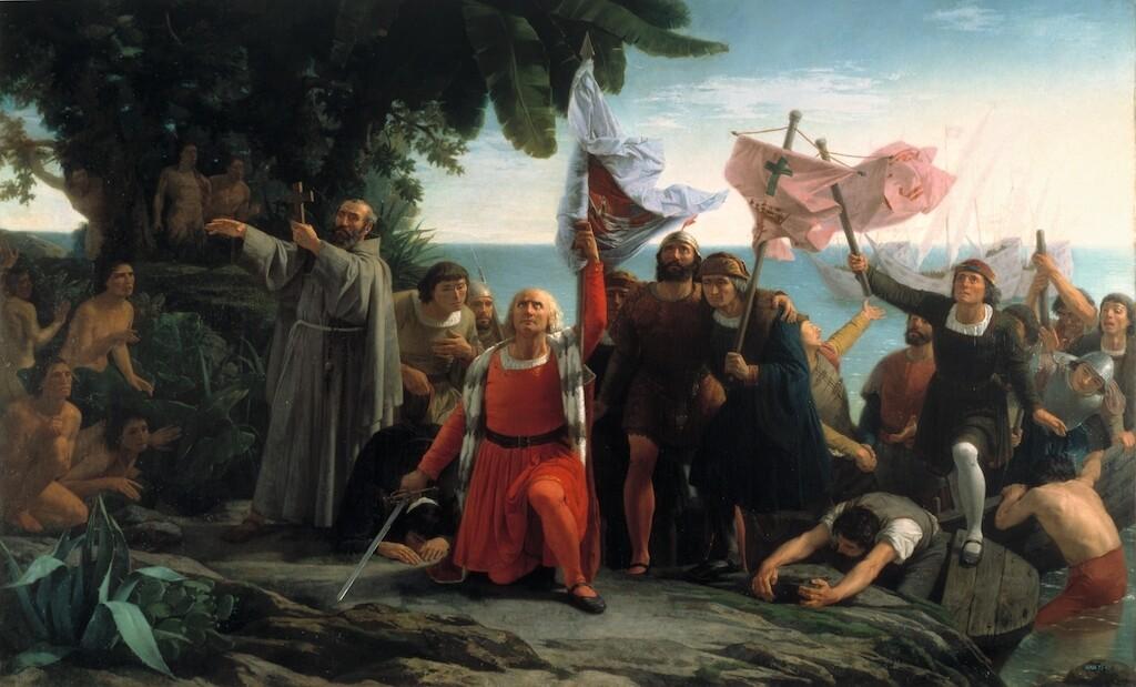 """""""Desembarco de Colón"""" painting by Dióscoro Puebla, 1862."""