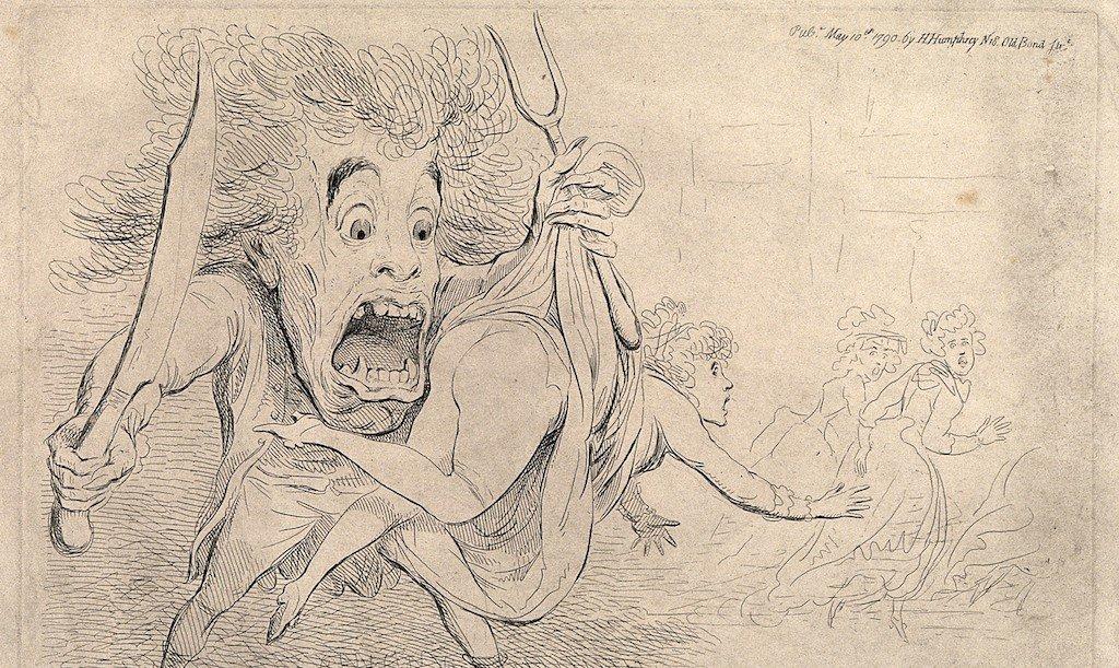 Зарисовка мультфильма, который вышел в 1790 году в ответ на сообщения о лондонском чудовище.