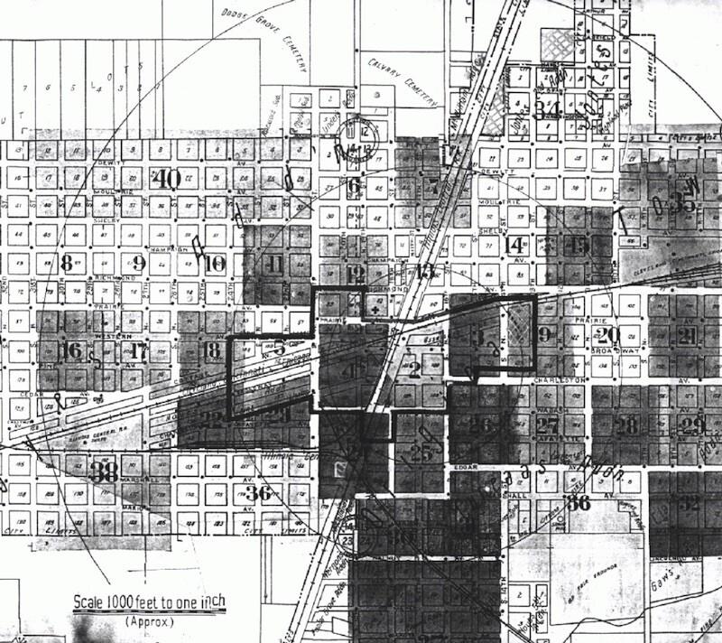 Mad Gasser attacks map in Mattoon, IL. Image Credit: Eastern Illinois University.