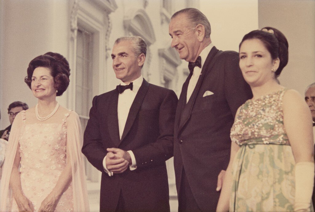 Mohammad Reza Pahlavi and President Johnson at the White House in 1968.