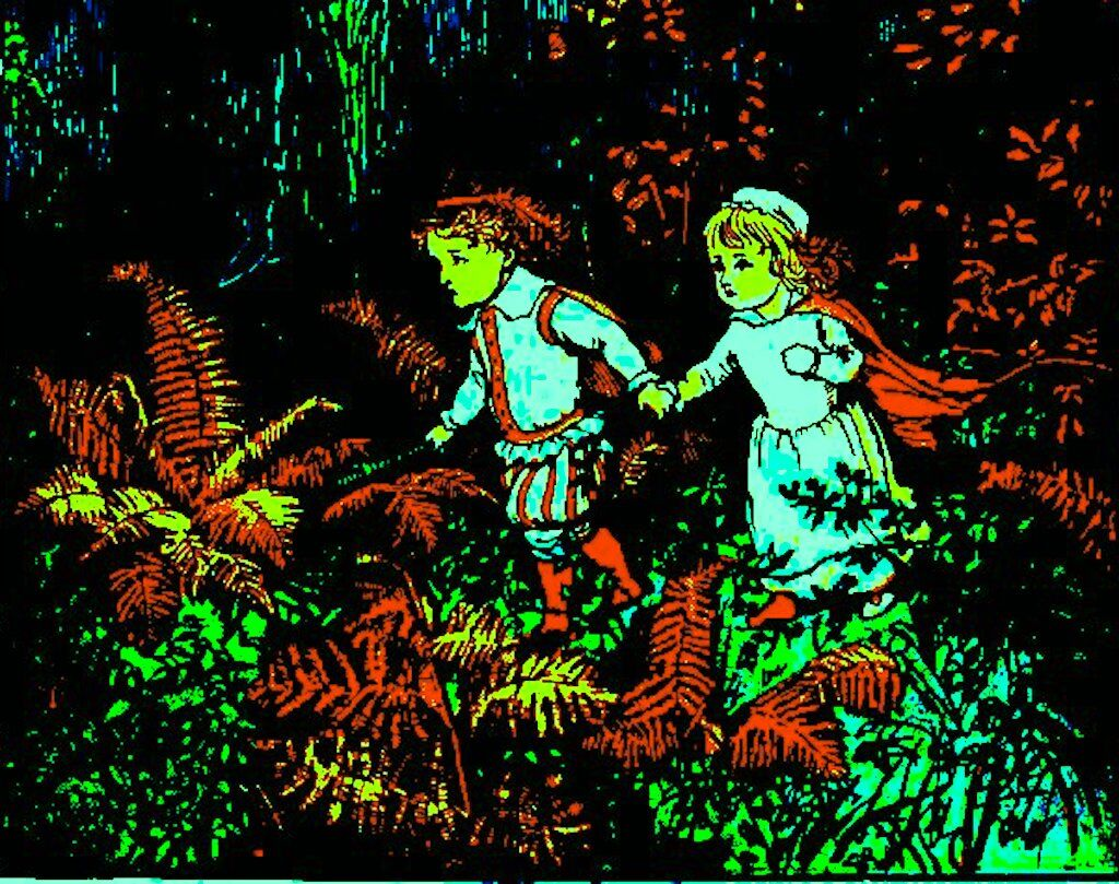 Randolph Caldecott's 1879 illustration of the two children in the woods.