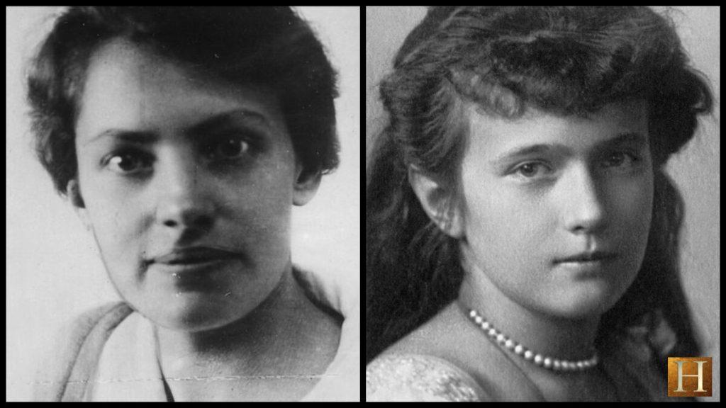 A photo comparison of Anna Anderson (L) and Grand Duchess Anastasia (R).
