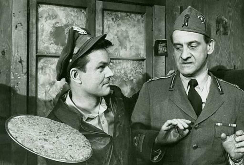 "Bob Crane (left) on the set of ""Hogan's Heroes."""