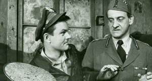 "Bob Crane (left) on the set of ""Hogan's Heroes"""