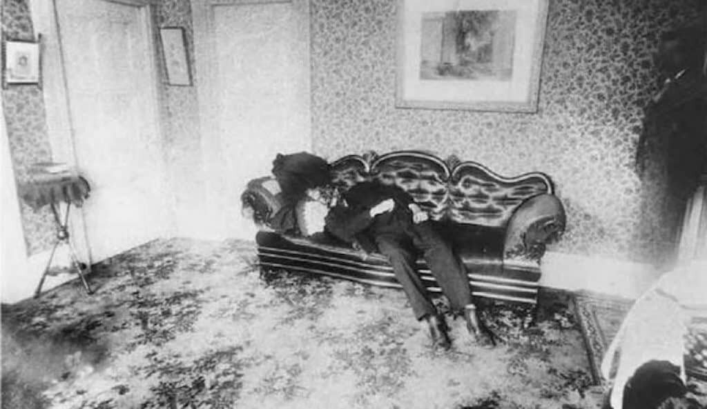 Lizzie Borden crime scene photo showing the body of Andrew Borden.