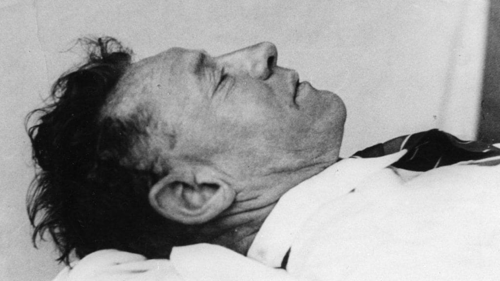 Photo of the dead man found on Somerton Beach, Adelaide, on the morning of 1 December 1948.