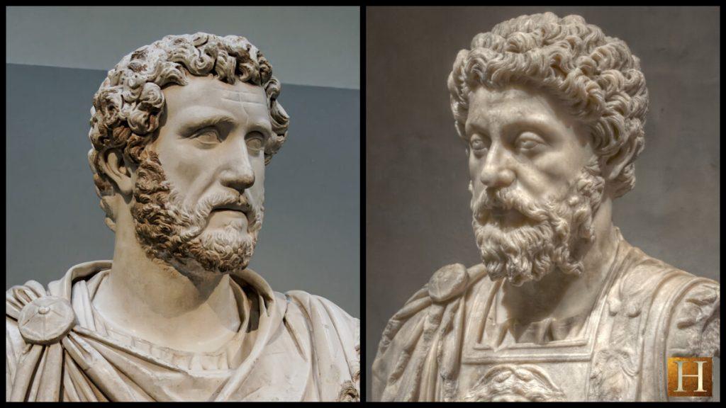 Antoninus Pius (L) and Marcus Aurelius (R)