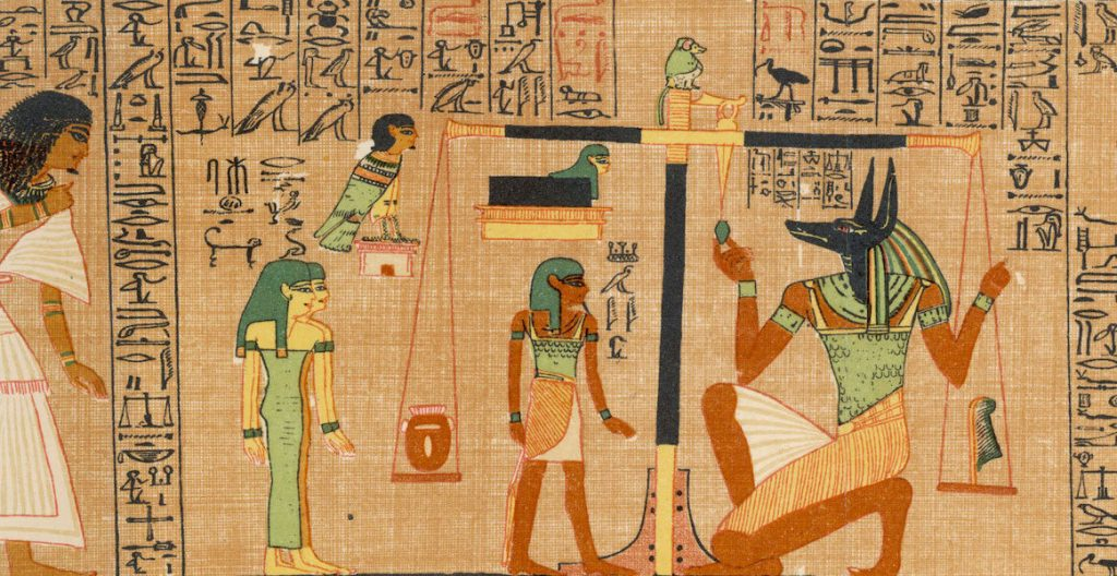 Anubis weighs the soul of the scribe Ani, from the Egyptian Book of the Dead, c. 1275 BCE.