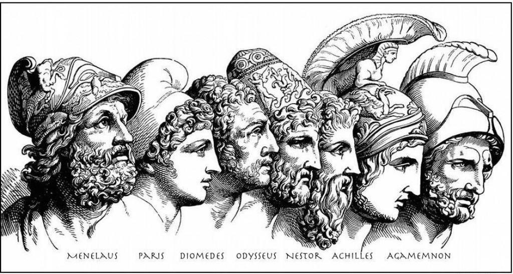 The main characters of the Trojan War myth in the Iliad. Source: Clipart.com, modified.