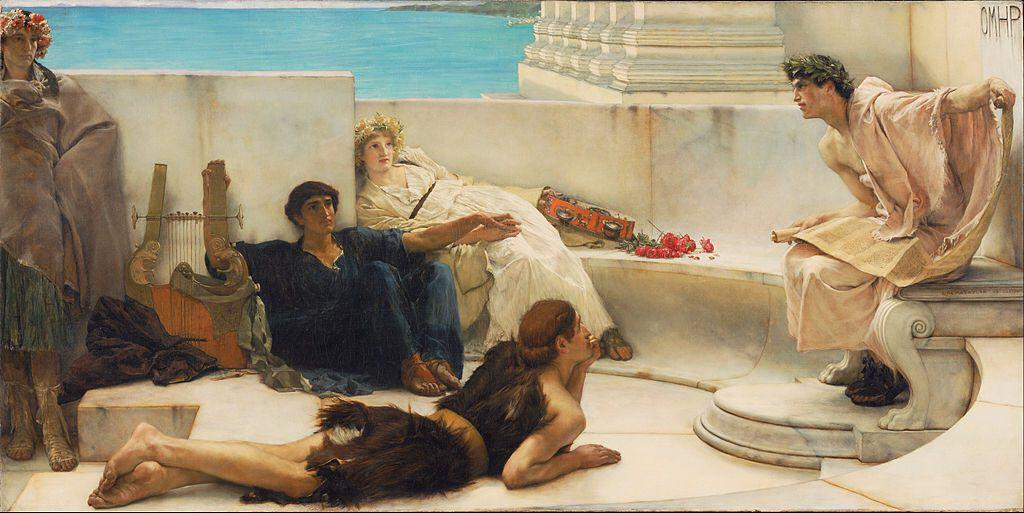 """""""A Reading from Homer,"""" Lawrence Alma-Tadema 1885. Public domain."""