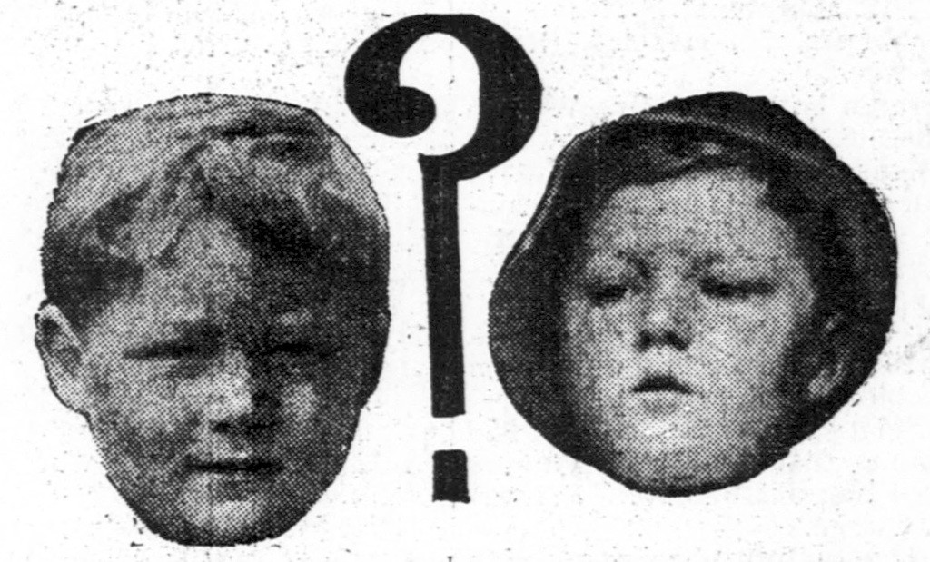An 18 February 1914 newspaper facial photos of Bobby Dunbar (L) and the boy claimed by Lessie and Percy Dunbar to be Bobby Dunbar (R).