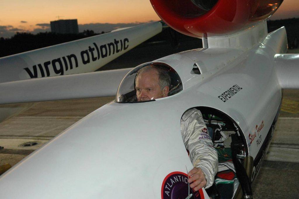 Steve Fosset in the Virgin Atlantic GlobalFlyer cockpit.