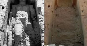 The taller Buddha of Bamiyan before (left picture) and after destruction (right).
