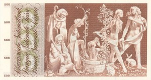Depiction of the Fountain of Youth on Currency