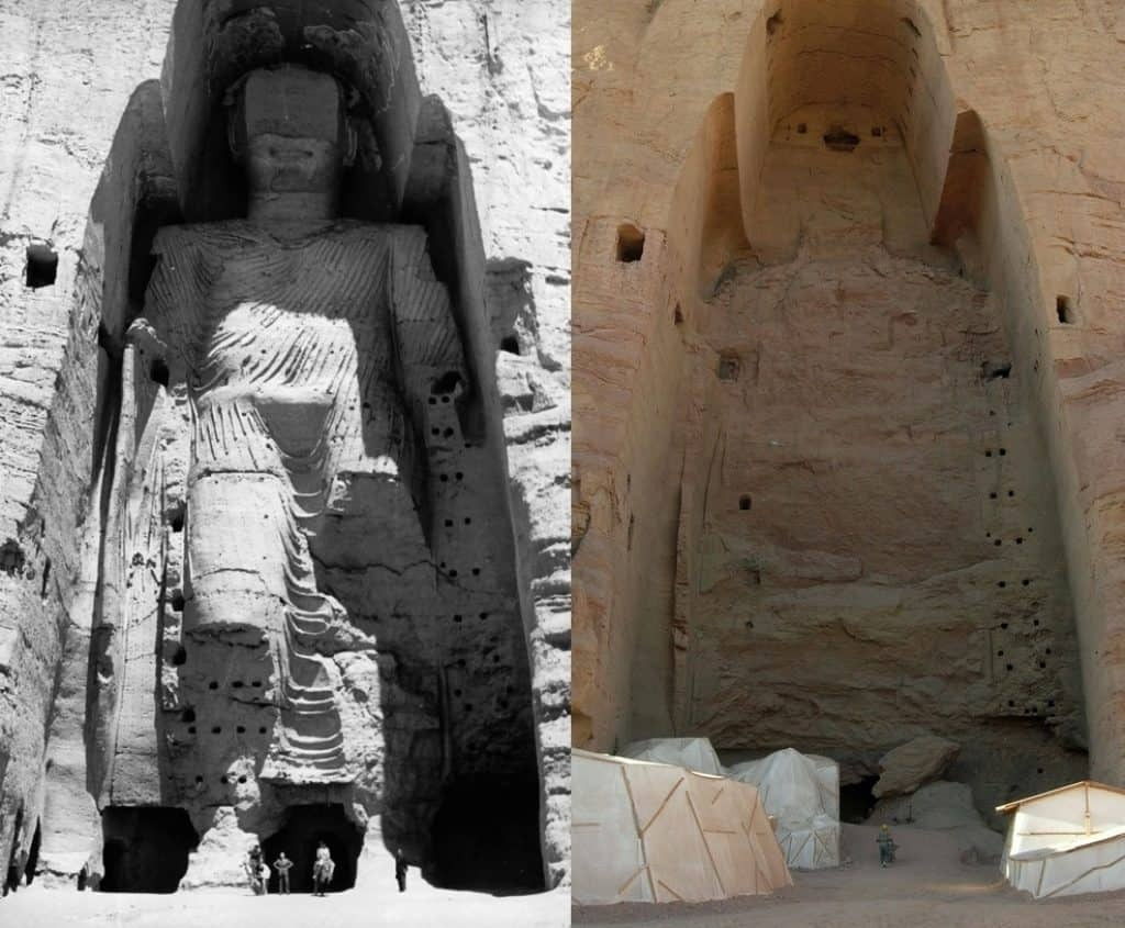 Before and after destruction of Bamiyan Buddha. Image: Buddha_Bamiyan_1963.jpg: UNESCO/A Lezine.