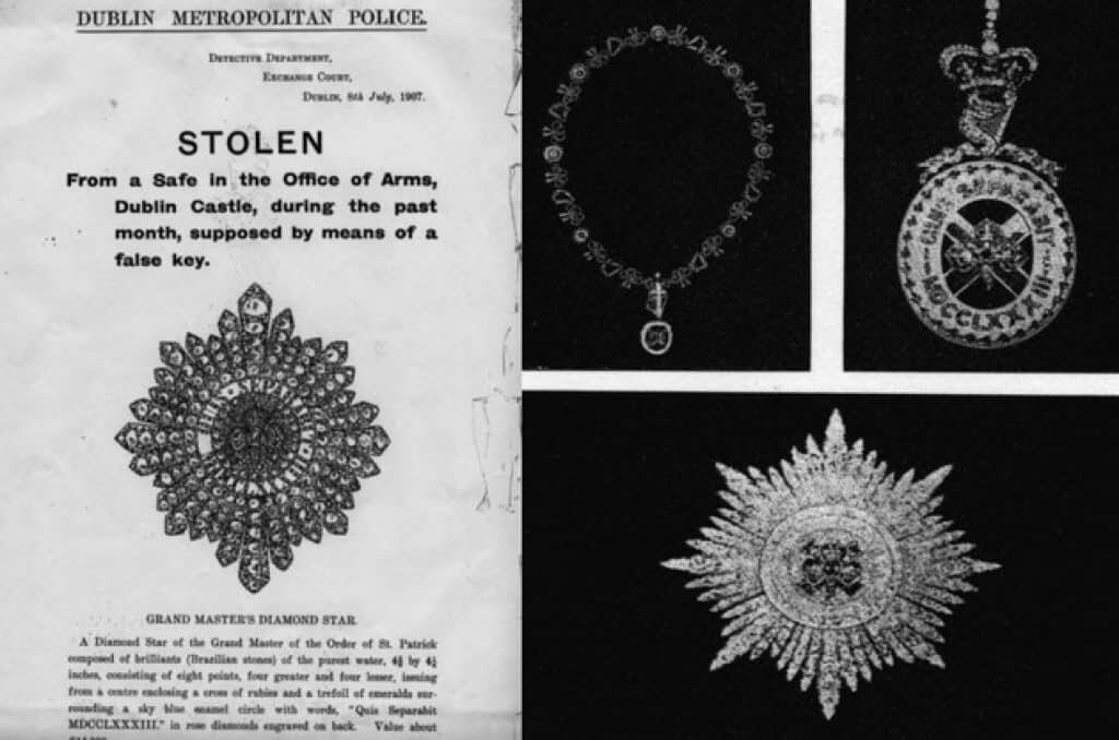 Dublin police announcement regarding the lost treasures of the crown jewels.